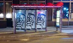 4 Barts (Michael Dunn~!) Tags: bartsimpson busshelter busstop californiast californiastreet graffiti muni sanfrancisco