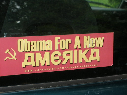 Obama for a new America - Bumpersticker with Soviet Style Font