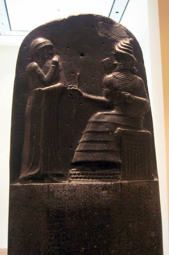 The picture above shows King Hammurabi receiving the law code (Hammurabi's code) directly from the sun god, Shamash.