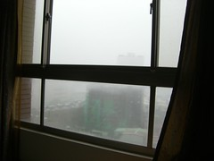 Looking through window during typhoon Krosa