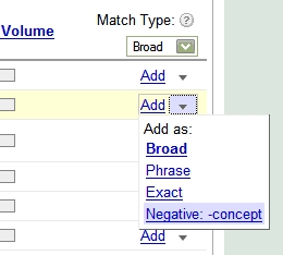Negative Keyword Tool Relocated