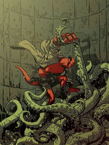 Hellboy vs. Tentacles by Nick Derrington