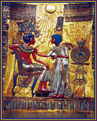 Tutankhamun's treasure (Katarina 2353) Tags: old blue red orange history film yellow museum analog photography gold chair nikon flickr king treasure image tomb egypt cairo pharaoh artifact throne tutankhamun nikonf401s katarinastefanovic katarina2353