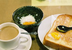morning set (bobby stokes) Tags: food slr film coffee japan japanese toast egg nagoya eggs analogue    morningset  fujinatura1600