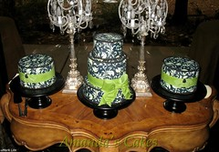 Gabriel Johnson Wedding Cakes (mandotts) Tags: cake strawberry chocolate weddingcake bow raspberry vanilla ornate mossgreen fondant damask buttercream blackandcream edibleprinter frostingsheets edibleink blackcakestands