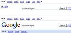 Google hides textlink behind logo