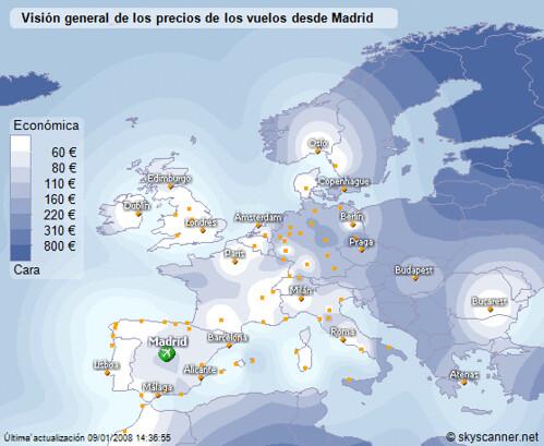 Precios de billetes de avión volando desde Madrid
