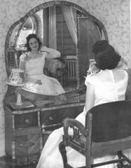 Mom Prom Dress Vanity Furniture 1948 40s (Whiskeygonebad) Tags: 1948 brooklyn mom furniture vanity mirrors style mothers prom 40s boropark promdress veneer bampw fourties