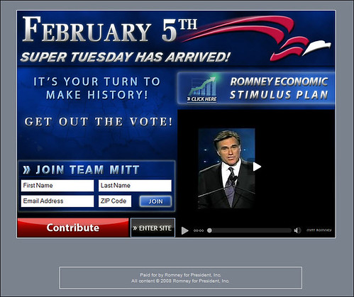 Mitt Romney for President - Splash Page