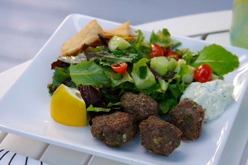 turkey meatballs, greek salad etc.