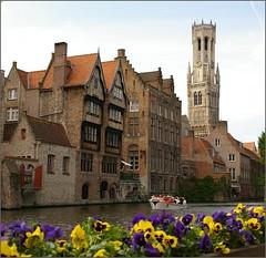 Brugge (Bruges) (Johan_Leiden) Tags: canal belgium brugge belgi historic bruges violets belfort boattour rondvaartboot historiccities abigfave hccity