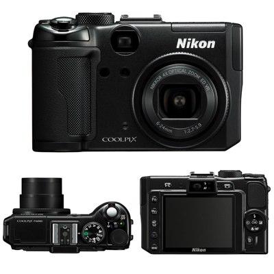 Nikon P6000 -- front, top and rear views