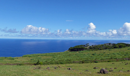 Clouds shining on  deep blue of around Easter Island