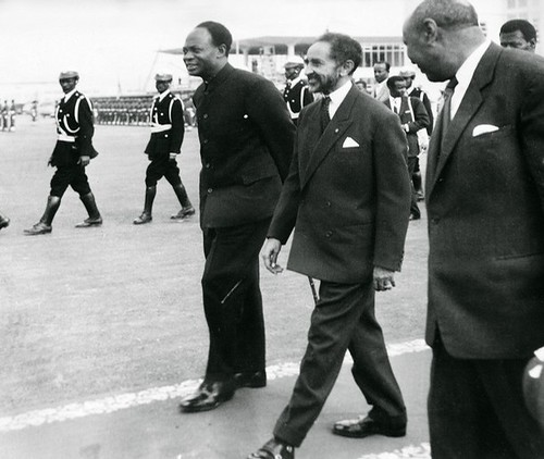 Reproduction of a file photo dated 25 May 1963 shows the Ethiopian Emperor Haile Selassie (C) and Ghana's founder and first President Kwame Nkrumah (L) during the formation of the Organization of African Unity in Addis Ababa. by Pan-African News Wire File Photos