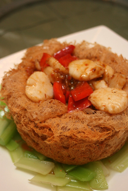 Scallop Wok-Fried with Celery in Yam Basket