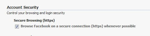 Facebook https secure login