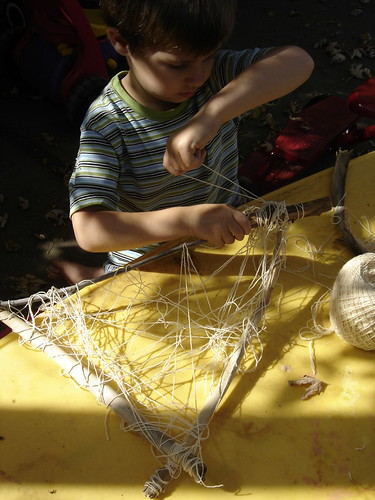 Jack making a fishing net