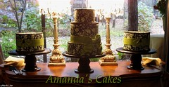 Gabriel Johnson Cakes (mandotts) Tags: cake strawberry chocolate weddingcake bow raspberry vanilla ornate mossgreen fondant damask buttercream blackandcream edibleprinter frostingsheets edibleink blackcakestands