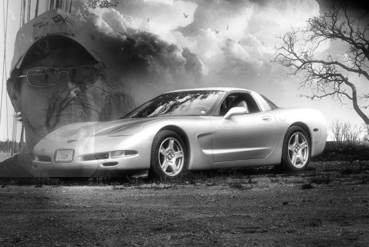 C5 Corvette In Black and White