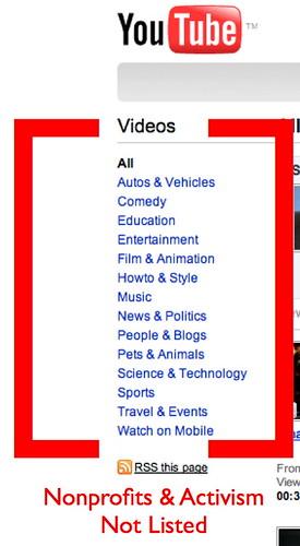 YouTube - Doesn't List Nonprofits & Activism