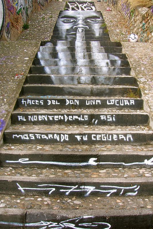 Granada, staircase to Mirador S. Cristobol, attitude