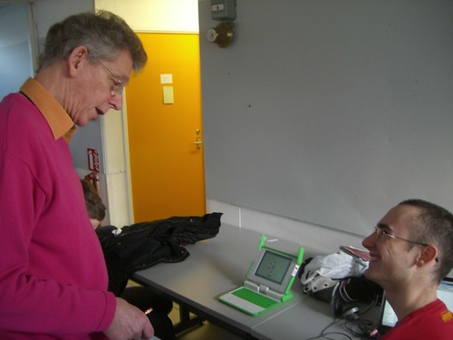 gerard unger and dave crossland with an olpc xo laptop