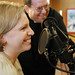 Katherine Barron, Catholic In A Small Town podcast and Father Bill Kessler, Spiritual Director of SQPN, from Meppen, Illinois, during the set-up before the joint Podcast.