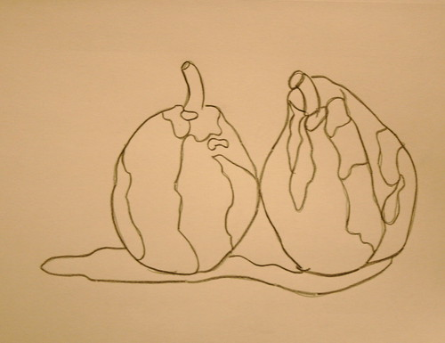 Kissing Pears: blind contour