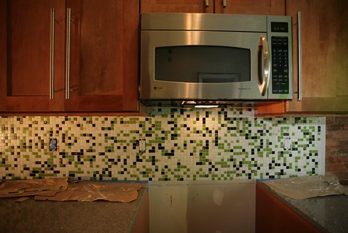 The mosaic tile goes on the backsplash