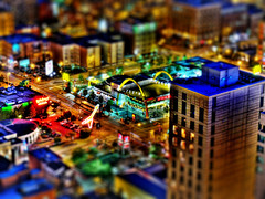Tilt Shift Practice 7 (NearDC) Tags: city urban chicago streets night lights midwest mcdonalds hdr tiltshift photomatix 5xp