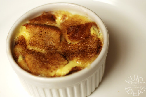 Bread pudding with cinnamon sugar crust