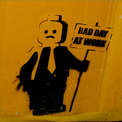 Bad Day (Which Witch) Tags: streetart black art face sign yellow wall work graffiti design robot telaviv paint bad tie spray squareformat frown bsquare instantfave baddayatwork