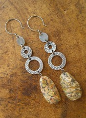 leopard jasper dangles wood (handcranked) Tags: jasper jewelry earrings pmc dangles finesilver dangleearrings leopardjasper