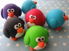Colorful tiny round pengs (fliepsiebieps1) Tags: sculpture bird animal penguin crafts polymerclay figure figurine