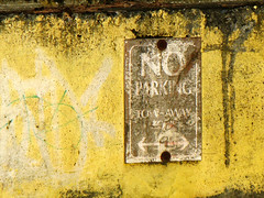 Strictly Enforced? (Dead  Air) Tags: sign portland grafiti decay no noparking parking stjohns badsign corrosion deterioration pierpark towawayzone canonpowershota720is