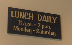 Lunch daily, Monday - Saturday