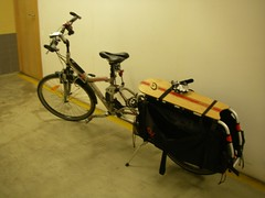 A minha bike estacionada no Parque de Estacionamento subterrâneo do Picoas Plaza