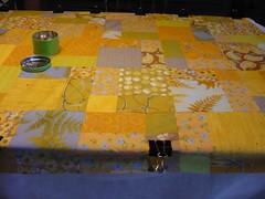 Quilt being pinned (la_joconde_orange) Tags: quilt basting