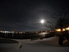 Snow Moon Rising Time-Lapse (amysturg) Tags: fullmoon snowmoon moon maine snow timelapse