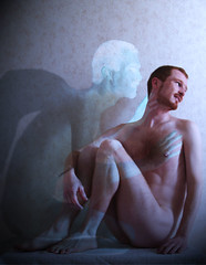 Eros et Thanatos (Mr-Pan) Tags: selfportrait photoshop religious autoportrait religion eros redhead mythology roux psychology antiquit mythologie psychologie thanatos rouquin