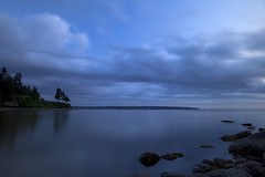 Pass-By (Claire Chao) Tags: ocean longexposure blue sea cloud canada color colour reflection tree water colors vancouver clouds canon rocks alone quiet colours bc waterfront dancing britishcolumbia magic noone floating tranquility nobody calm stanleypark bluehour tranquil thirdbeach drifting quietness aftersunset longexposures llens beautifulbritishcolumbia bymyself cloudreflection canon1635mmf28 floatingcloud canoneos5dmarkii 1635mmllens asshotwb driftingcloud 5100k2