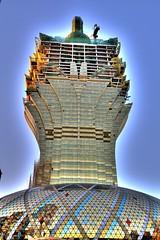 The Grand Lisboa HDR (Wooolf) Tags: china blue gold shiny raw lisboa halo casino dri hdr 2007 macao hdrfromasingleraw ef24105f4l eos400d thegrandlisboa