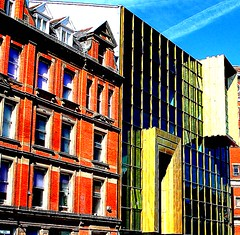 two styles - hanover street - liverpool - england (~ paddypix ~) Tags: red colour liverpool photoshop buildings angles picasa oldcity doorsandwindows specialeffects fragments moodyblues ukandireland iusedpicasa madalenaandherflag urbanside