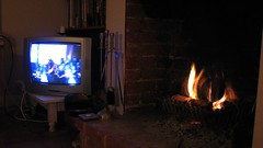 Lead, kindly Light (TimBurnsArt) Tags: light television fire fireplace hearth