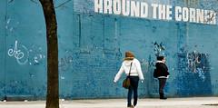 AROUND THE CORNER (threecee) Tags: newyorkcity blue winter woman streetart newyork tree brick art girl brooklyn graffiti women unitedstates sidewalk newyorkstate prospectheights flatbushave 6thavenue 6thave flatbushavenue deanstreet deanst atlanticyards nextbook gowanuslounge forestcityratner bergentile prospectheitghts tracycollinsphotography dsc8712 brooklynian theseilike bfbss