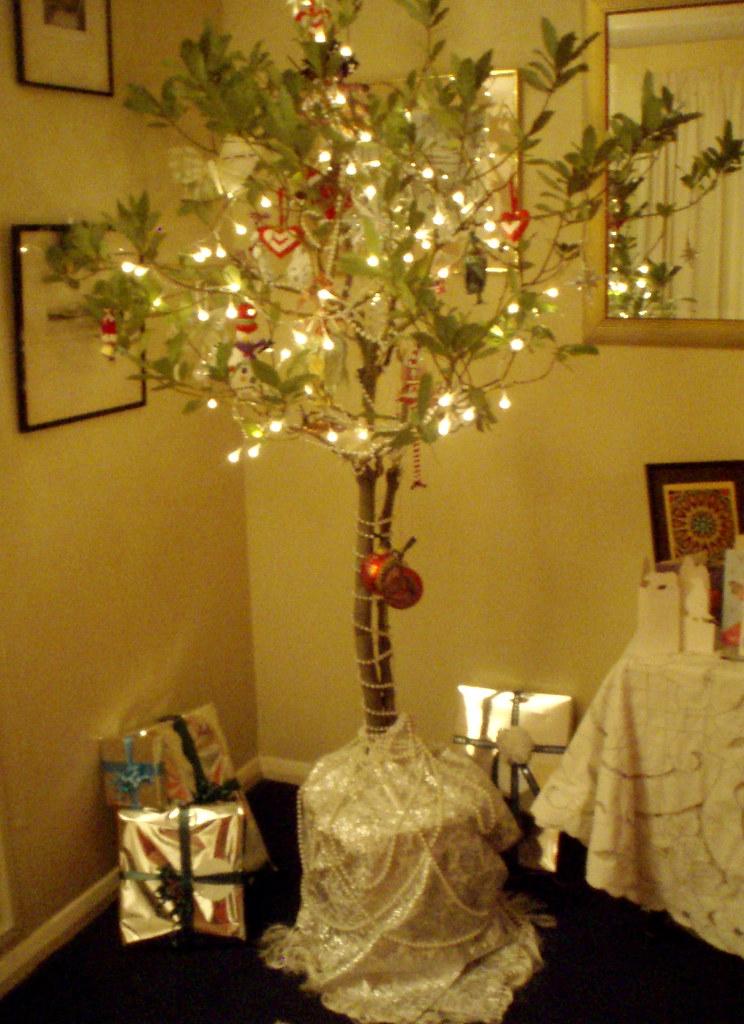 Christmas Tree with secret swap goodies hidden in it.