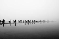 Nebulous Pier (mgratzer) Tags: autumn winter blackandwhite bw white lake black cold wet water fog austria sterreich sad timber foggy krnten carinthia wrthersee badview lakewrth neboluos showonmysite