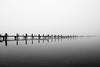 Nebulous Pier (mgratzer) Tags: autumn winter blackandwhite bw white lake black cold wet water fog austria österreich sad timber foggy kärnten carinthia wörthersee badview lakewörth neboluos showonmysite