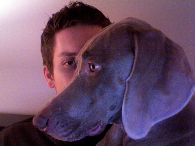 Maddie on my face as I try to blog