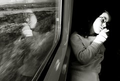 thoughts and journeys (Mayastar) Tags: portrait bw train scotland child thoughts journey mayastar